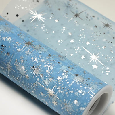 6x10 Yards Serenity Blue Organza Tulle Fabric Bolt With Hot Foil Stamped Star Design