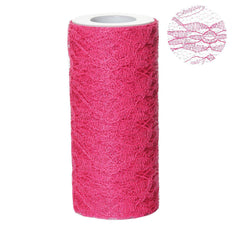"6""X10 Yards Fushia Floral Lace Shimmer Glitter Tulle Fabric Bolts"