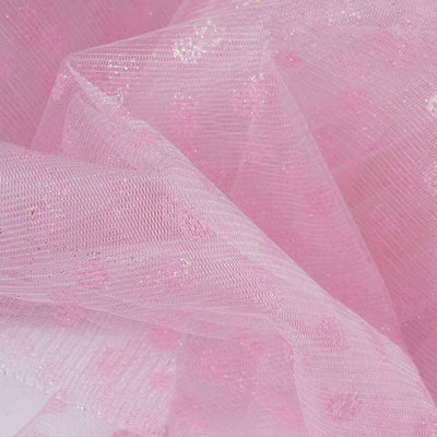 Glittered Polka Dot Tulle Fabric -Pink- 54 x 15 Yards