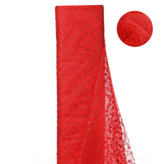 54 Inch x 15 Yards Red Glitter Polka Dot Tulle Fabric Bolts | TableclothsFactory