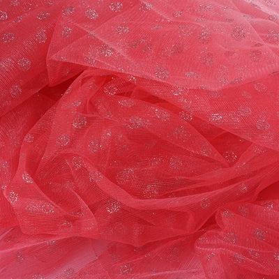 54 Inch x 15 Yards Glitter Polka Dot Tulle Fabric Bolts | TableclothsFactory