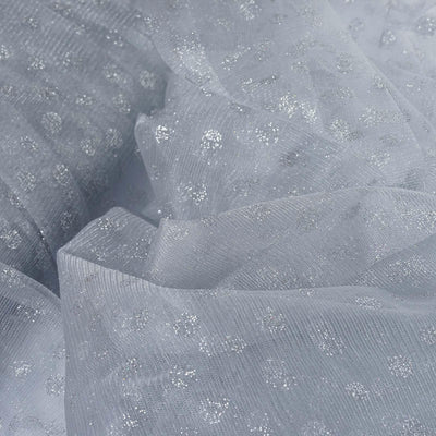 Glittered Polka Dot Tulle Fabric -Silver/Silver- 54 x 15 Yards