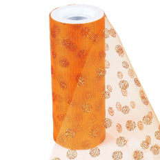 "6""x10 Yards Orange Glitter Polka Dot Tulle Fabric Bolts"