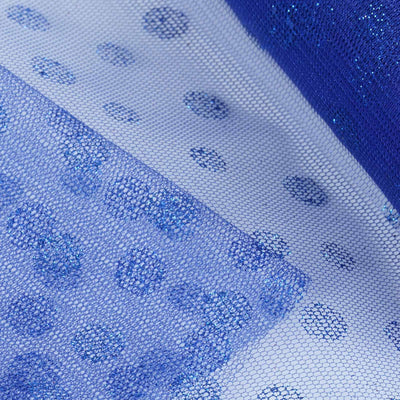 "Glittered Polka Dots Tulle - Royal Blue- 6""x10 Yards"
