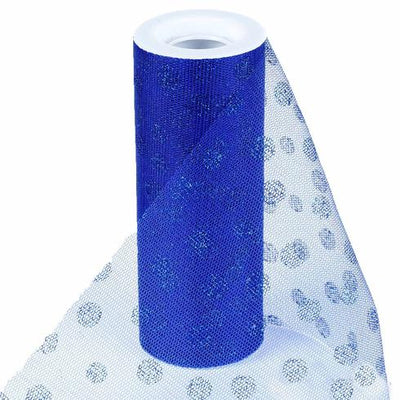 "6""x10 Yards Royal Blue Glitter Polka Dot Tulle Fabric Bolts"