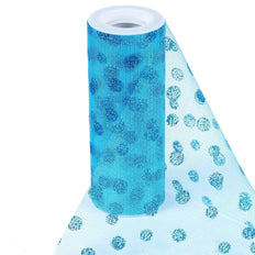 "6""x10 Yards Turquoise Glitter Polka Dot Tulle Fabric Bolts"
