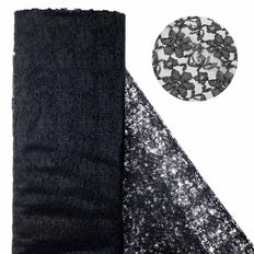 "Beguiling Blossomy Lace Fabric Bolt - Black- 54"" x 15 YARDS"