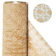 "Beguiling Blossomy Lace Fabric Bolt - Gold- 54"" x 15 YARDS"