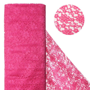 "Beguiling Blossomy Lace Fabric Bolt - Fushia- 54"" x 15 YARDS"