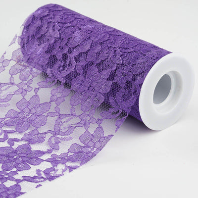 "6"" x 10 Yards Purple Floral Lace Fabric Bolt"