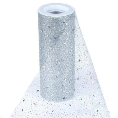 "6""x10 Yard Silver Sparkly Sheer Sequin Fabric Tulle by the Bolt"