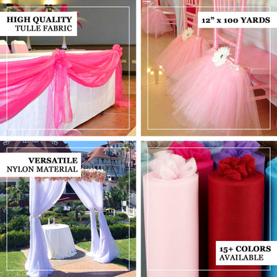 "15"" x 100 Yard White Tulle Fabric by the Bolt"