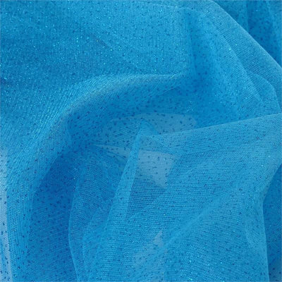 "54"" x 15 Yards Turquoise Glitter Dot Tulle Fabric Bolt"