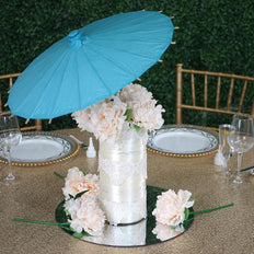 "20"" Turquoise Paper Parasol Umbrella Wedding Hanging Decor Table Centerpiece"