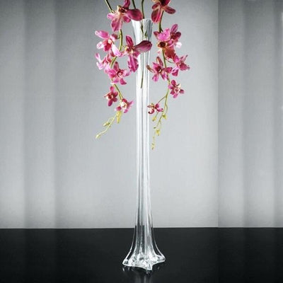"6 Pack | 36"" Clear Eiffel Tower Glass Flower Vase"