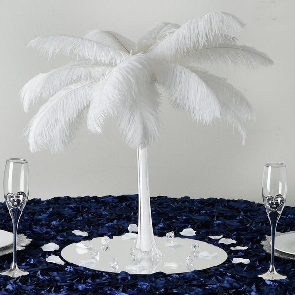 "12 Pack | 16"" White Glass Flower Eiffel Tower Vases"