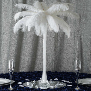 "12 Pack | 24"" White Glass Flower Eiffel Tower Vases"