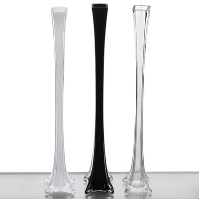 "6 Pack | 24"" Clear Eiffel Tower Glass Flower Vase"