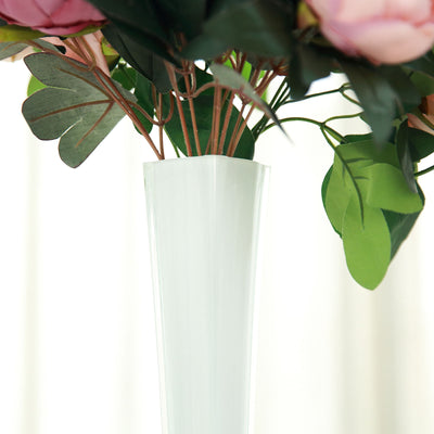 "6 Pack | 32"" White Eiffel Tower Glass Flower Vase"
