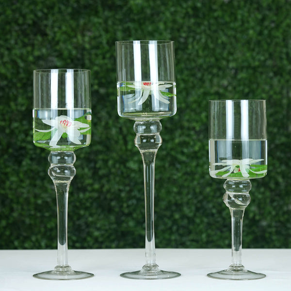 Set of 3 | Clear Long Stem Cylinder Glass Vase Candle Holder Set