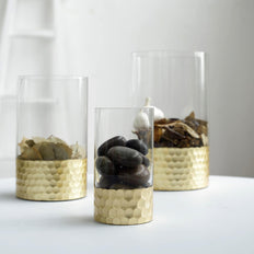 Set of 3 | Glass Cylinder Vases with Gold Honeycomb Base | Glass Candle Holders | 6"