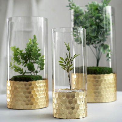 Set of 3 | Glass Cylinder Vases with Gold Honeycomb Base | Glass Candle Holders | 8"