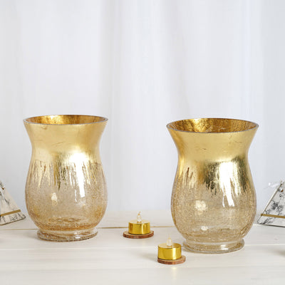 Gold Crackle Glass Flower Vase | Hurricane Candle Holders