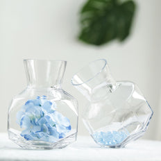 "2 Pack | 8"" Honeycomb Glass Geometric Vases 