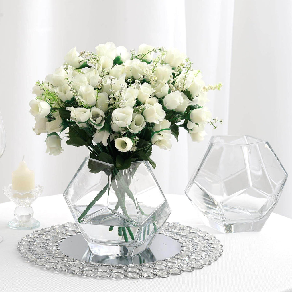 5 Clear Glass Geometric Vases Table Top Prism Terrariums Glass Vases Tableclothsfactory