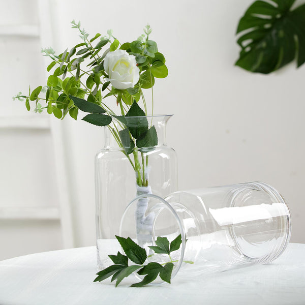 "2 Pack | 9"" Flared Neck Heavy Duty Clear Glass Vases"