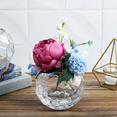 2 Pack - 4inch Clear Geometric Glass Bubble Vase - Honeycomb Sphere Vase Table Top Candle Holder
