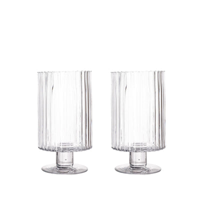 "2 Pack | 9"" Ribbed Pedestal Glass Vases 
