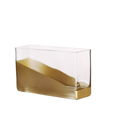 "2 Pack | 8"" Gold Dipped Rectangle Glass Vases 