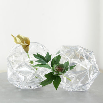 "2 Pack | 7"" Honeycomb Glass Geometric Vases 