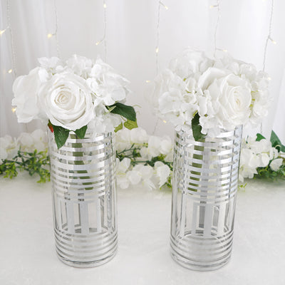 "2 Pack | 11"" Silver Striped Cylinder Vases 