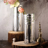 "2 Pack | 11.5"" Silver Striped Cylinder Vases 
