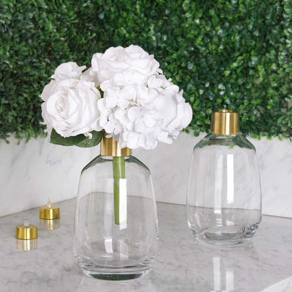 "Pack of 2 | 8"" Clear Glass Flower Vase with Gold Metal Top, Decorative Glass Jars"