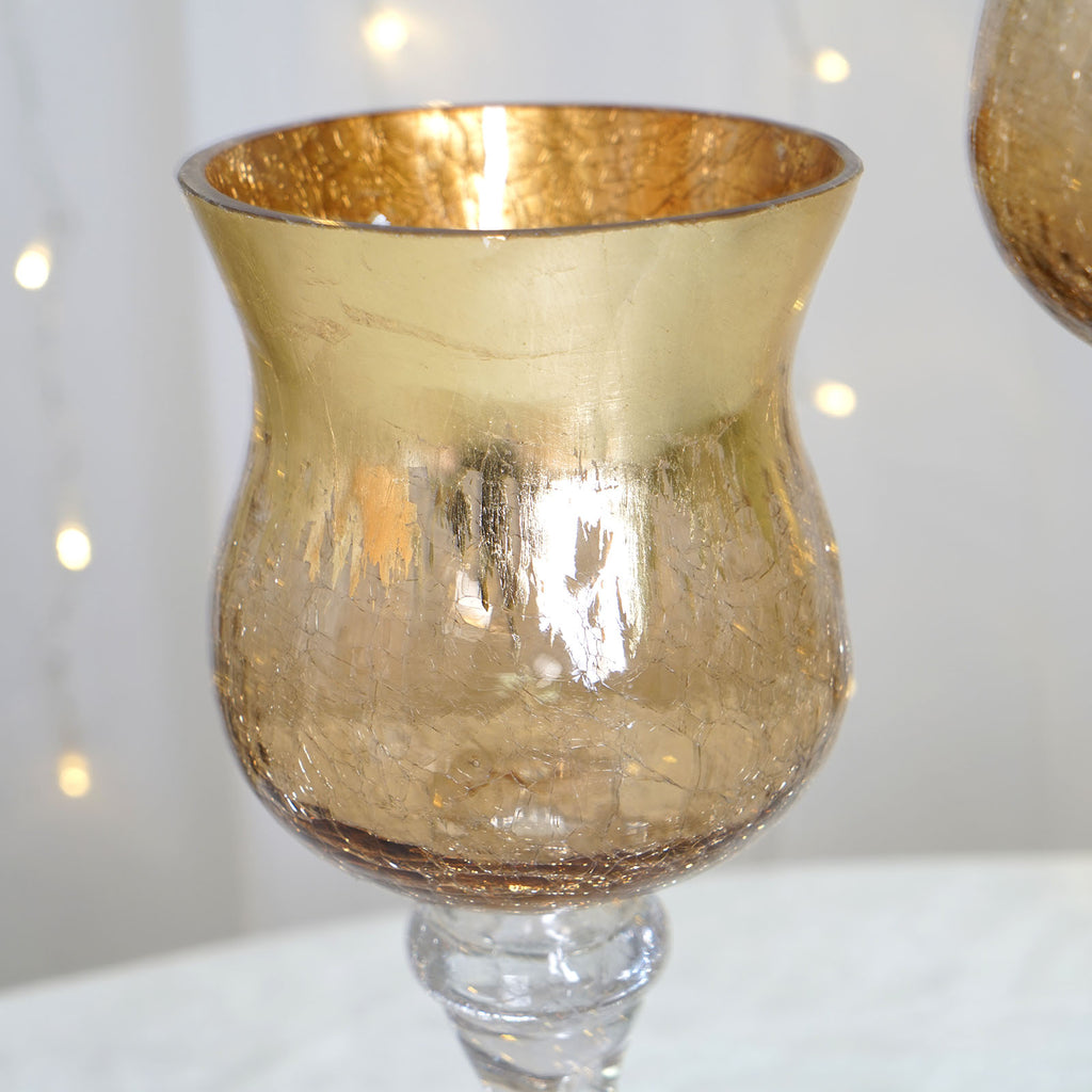 Crackled Glass Holiday Charger Candle Holder