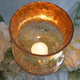 "Set of 3 | Hurricane Long Stem Gold Foil Crackle Glass Vases Candle Holder Set - 16""/14""/12"""