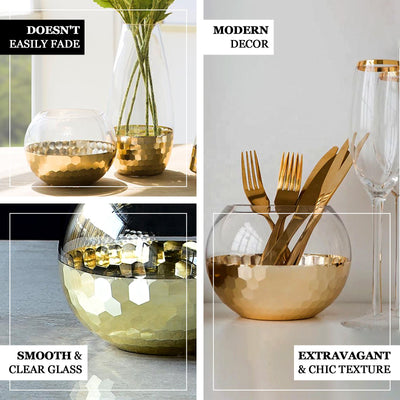 "2 Pack | 4.5"" Gold Honeycomb Glass Vase, Bubble Glass Vase, Glass Candle Holders Table Centerpiece"