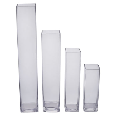 "6 Pack | 18"" Heavy Duty Square Cylinder  Glass Vase"