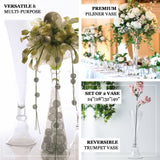 "Set of 2 | 32"" Clear Reversible Clarinet Glass Trumpet Vase, Tall Glass Vases"