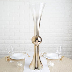 "2 Pack | 30"" Chrome Gold Ombre Glass Reversible Latour Trumpet Vase"