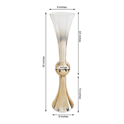 "35"" Chrome Gold Ombre Glass Reversible Latour Trumpet Vase"