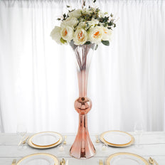 "35"" Rose Gold Ombre Glass Reversible Latour Trumpet Vase"