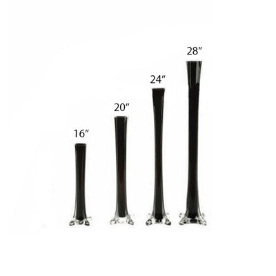 6 Pack | 28inch Black Glass Flower Eiffel Tower Vases