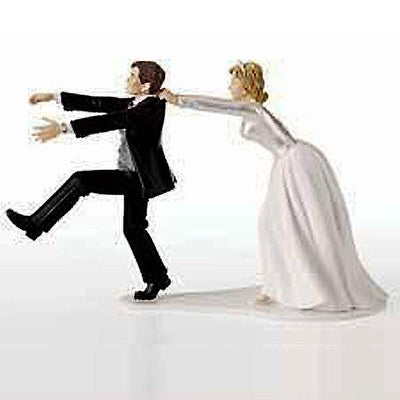 "4.25"" Oh No You Don't Bride & Groom Couple Cake Topper Figurine"