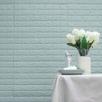 10 Pack | 58 Sq.Ft Baby Blue Foam Brick Wall Tiles Peel and Stick 3D Wall Panel Room Decor