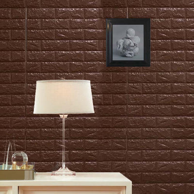 10 Pack | 58 Sq.Ft Chocolate Foam Brick Wall Tiles Peel and Stick 3D Wall Panel Room Decor