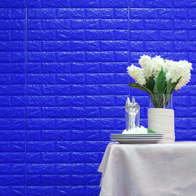 10 Pack | 58 Sq.Ft Royal Blue Foam Brick Wall Tiles Peel and Stick 3D Wall Panel Room Decor